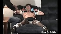 Lusty bimbo is playing with a huge sextoy