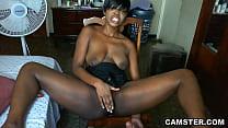 Shaved ebony pussy gets hot and sweaty when masturbating pornhub video