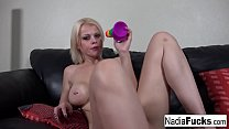 Sexy  Nadia stuffs her tight pussy with a rainb...