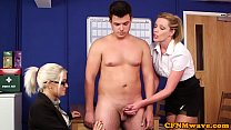 British office femdoms wank sub in breakroom preview image