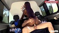 LETSDOEIT -  Hot Ebony Babe Sunny Star Rides White Cock Outdoor thumbnail