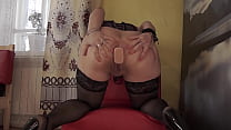 Gaping ass and anal-vaginal orgasm. A mature milf in stockings stretches her holes and fucks with huge dildos. Homemade fetish and foot fetish.