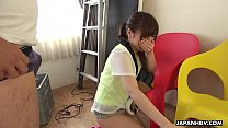 Petite Japanese chick Mei Wakana swallows small hairy fuck stick