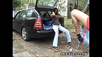 Busty amateur wife fucked in a car with cumshot