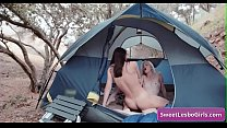 Sexy busty natural lesbian teens Aiden Ashley, Abigail Mac scissoring each other their pussies outdoor in a tent
