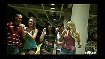 Three HOT sluts start orgy in public while waiting for the train