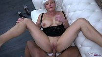 Busty milf with fake hair eat all strangers cum after fuck