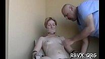 Gal manhandles concupiscent slut