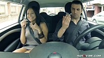 Horny Latin GF squirts in his car preview image