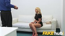 Fake Agent Shy British blonde Amber Deen sucks big cock on casting couch