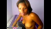 Beautiful black babe with wet pussy teasing preview image
