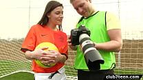 Teen female footballer fucks photographer thumbnail