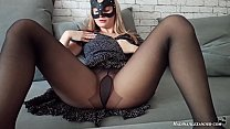 Masked Babe  Blowjob, Cowgirl on Big Dick and Anal Doggy Sex in Torn Tights