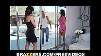 Two big-tit brunette MILF's seduce and fuck the...