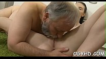 Olf fart fucks mouth of a young girl