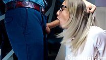 Blonde Deepthroat Huge Cock and Cum Swallow