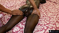 Dried meat in beans: Hot skinny ebony with fat pussy and big breasts getting massaged and getting cock (full)