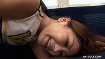 Japanese cheerleader, Runa Sezaki is horny, unc...
