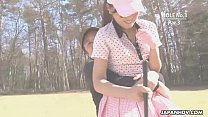 Asian babe gets naked at the golf course thumb