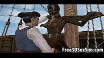 Sexy 3D cartoon ebony honey fucked on a pirate ship