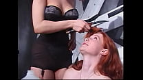 Depraved redhead sluts with beautiful bodies play bdsm games in the basement