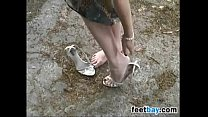 Blonde Chick Gets Her Feet Dirty Outside