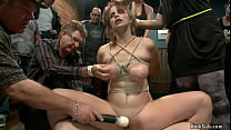 Strapped slave anal fucked in public