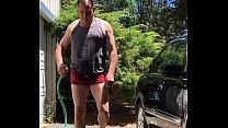 Dad/Mature washes car/plays with big cock in bikini-adam longrod