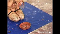Gross f. Worms in Mouth Humiliation of bizarre blonde slaveslut Crystel Lei