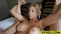 Sexy blonde lez seducing a hot gal thumbnail