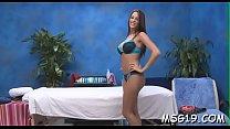 Pretty looking massage lady enjoys deep jock insertion