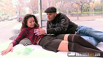 Hot Jade Presley tries out a Finger Vibrator in Public thumbnail