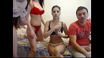 threesome with two young teens on webcam - teen...