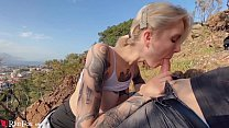 Blonde Blowjob Dick and Cum in Mouth in the Mountains صورة
