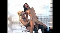 Gorgeous Aneta Keys and Sylvia Saint screwing each other with black dildo video