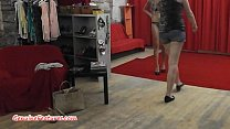 Image: Backstage interview and striptease by busty czech MILF