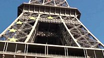 Eiffel Tower crazy public sex threesome group orgy with a cute girl and 2 hung guys shoving their dicks in her mouth for a blowjob, and sticking their big dicks in her tight young wet pussy in the middle of a day in front of everybody