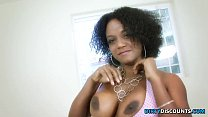 Busty ebony babe with huge booty riding cock