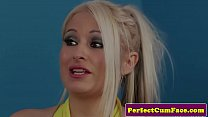 UK babe gets big load on her beautiful face