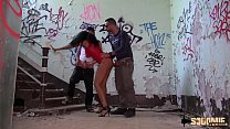 Valeria begs her boyfriends to fuck her in an abandoned shack