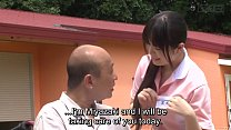 Subtitled bizarre Japanese half naked caregiver outdoors - 69VClub.Com