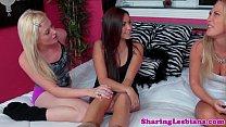Teenage lesbian threeway for the new roommate