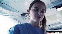 Sexy nurse fucked inside an ambulance