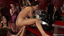 Busty slut banged in public discotheque