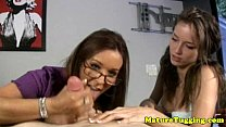 Jacking off loving MILFs pampering dude - www suny lion com thumbnail