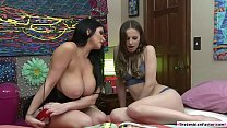Sexy chick licked by her milf roommate thumbnail