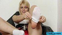 Cute blondie Ruth bare feet show and footjob Thumbnail