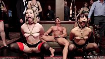 Senior and young slaves tormented orgy