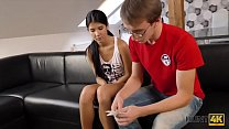 HUNT4K. The young cuckold watches his beautiful girlfriend Madelina Dee make money