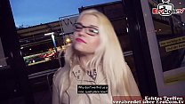 German chubby blonde teen flirt on Street and public pick up for EroCom Date outdoor POV